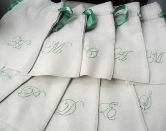 The Bachelorette party favors / drawstring linen cotton pouch / Personalized / Bridesmaid Party favors /  Fabric gift bag / goodies