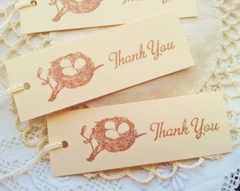 Thank You Tags Bird Nest Favor Tags Baby Shower Gender Reveal Or Sprinkle Set of 10