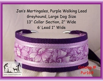 Jan's Martingales, Purple Walking Lead, Dog Collar and Lead Combination, Greyhound, Large Dog Size, Pur169