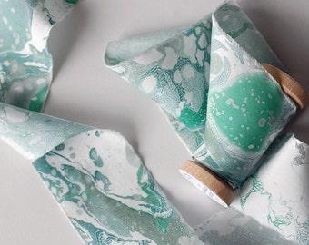 Marbled Silk Ribbon in Lichen Green
