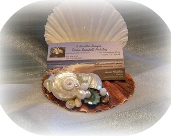 Sassy Seashell Business Card/photo/cards Holder