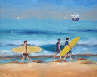 "Saturday Surf Day - 8x10"" Fine Art Print from Original Oil Painting, Surf Art, Beach Painting, Plein Air Seascape"