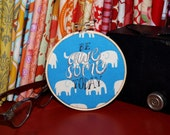 """Be Awesome Today - 4"""" Custom Embroidery Hoop in Blue Elephants"""