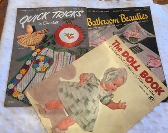 Three Vintage Crochet Booklets-Dolls., Bathroom, Aprons 1950