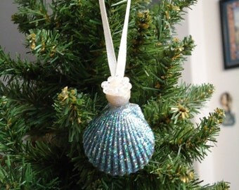 Small Iridescent Shell Angel Christmas Tree Ornament