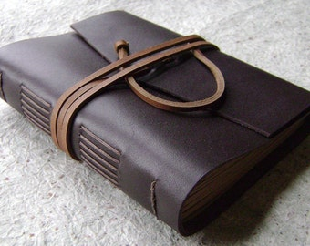 "Rustic leather journal, 4"" x 6"", dark brown, handmade journal by Dancing Grey Studio(1933)"