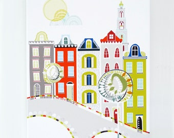Amsterdam, The Netherlands - European City Print, Canvas Art Print