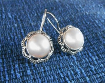 Balinese Sterling Silver mabe pearl dangle earrings / sterling silver