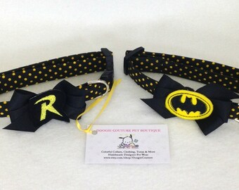 Batman and Robin Inspired Dog Collar Size XS through Large by Doogie Couture Pet Boutique