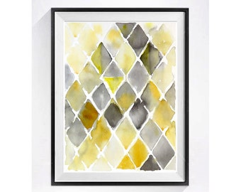 Abstract Art Prints Modern Artwork Century modern geometric Watercolor abstract Geometric Illustration Poster Chevrons WatercolorByMuren N