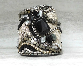 Lace Fabric Cuff Bracelet with Rhinestones- New Years Eve Black Tie Tuxedo Chic Jewelry by Sharona Nissan