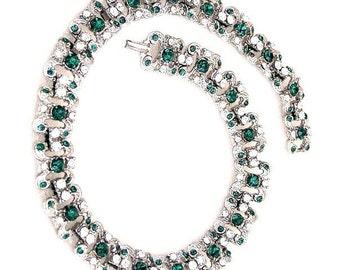 Art Deco Retro Emerald and Clear Rhinestone Choker Necklace