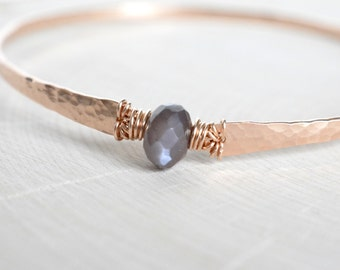 Coffee Moonstone Bracelet Blush Rose Gold Hammered Bangle Bracelet Moonstone Bangle June Birthstone Rose Gold Filled Mocha Chocolate Brown