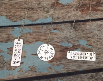 Personalized Coordinates Necklace, Latitude Longitude Bar Necklace, Latitude & Longitude GPS Necklace, Hand Stamped Sterling Silver Jewelry
