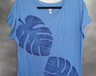 Women's Blouse, Blue, with Two (2) Block Printed Navy Monstera Leaves