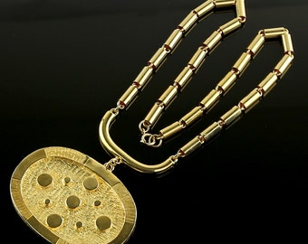 Vintage Pauline Rader Gold Tone Runway Necklace