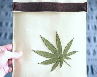 Tablet Case | Green Cannabis Leaf Applique on Vegan Leather