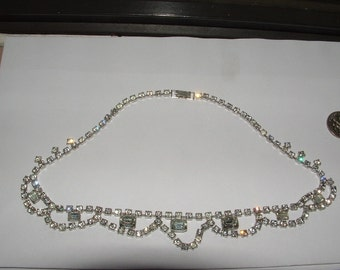 1950s vintage rhinestone choker necklace prom style  lacey look works well still pretty