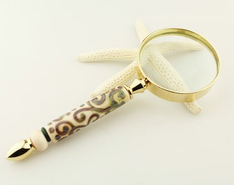 Lampwork Glass Beaded Magnifier with Handmade Lampwork Bead, Magnifying Glass
