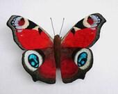 Fabric sculpture -  Peacock Butterfly fiber art