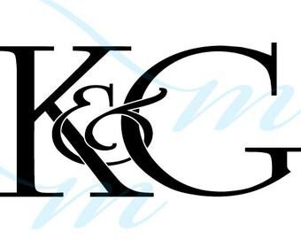 SALE - Intertwining Ampersand Monogram - K&G (instant download - jpg, psd, pdf)