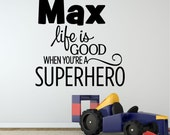 Superhero Quote Decal - Vinyl Batman Wall Decal, Personalized Boys Room Decal, Vinyl Batman, Vinyl Superhero Decal, Boys Wall Decal, PP12