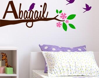 Flower Branch Decal, wall sticker, flying birds, bedroom decal, branch decal, children decal, wall decal tree, nursery wall decal 981142