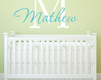Custom Personalized Name And Initial Vinyl Wall Decal Sticker F17
