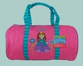 Child's Monogrammed Stephen Joseph New Style PRINCESS Quilted Duffle Bag in Teal