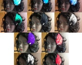 Burlesque Bridal Feather Fascinator with Large Preciosa Crystal Your Choice