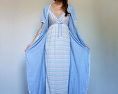 2pc Sleepwear Set Vintage Long Robe Nightie Maxi Short Sleeve Striped Nightgown Lingerie 2 Piece Set - Large L