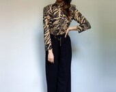 Animal Print Jumpsuit Vintage Black Long Sleeve Jumpsuit 80s 90s One Piece Romper Palazzo Pants Wide Leg Jumpsuit - Medium Large M L