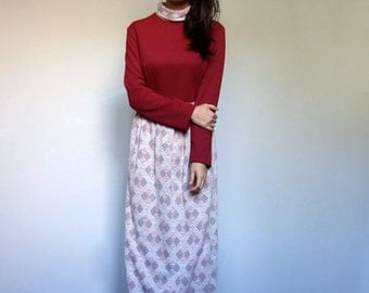 Winter Maxi Dress 70s Retro Long Sleeve Turtle Neck Dress Burgundy Geometric Graphic Fall Dress - Large L
