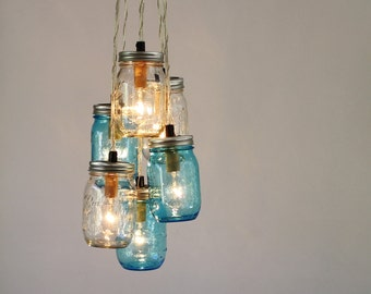 Mason Jar Chandelier, Blue and Clear Jars Cluster, Hanging Pendant Lamp Fixture, BootsNGus Rustic Lighting and Home Decor