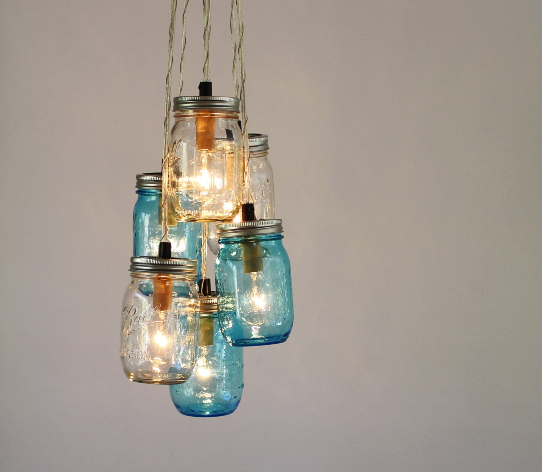 mason jar chandelier blue and clear jars cluster hanging. Black Bedroom Furniture Sets. Home Design Ideas