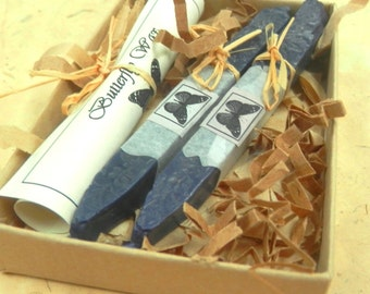 Natural Sealing wax NAVY BLUE 2 sticks seal wax with wick  for stamp