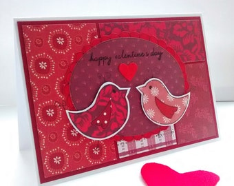 Valentine's Day Card - Love Birds - Luxury Handcrafted Card - Red