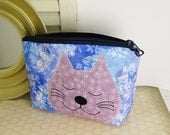 Cat makeup bag, cosmetic pouch, cat face zipper pouch, small clutch, blue and purple, kitty cosmetic bag, kitty face