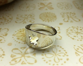 Sterling Silver Butterfly Cutout Ring, Handmade in Maine