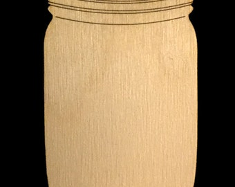 Mason Jar Shape Natural Craft Wood Cutout 1780