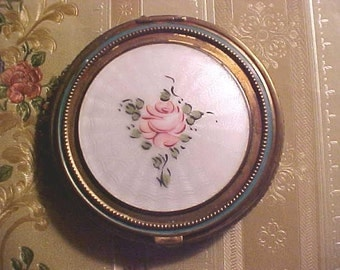 Vintage GUILLOCHE Compact Floral MESH Bottom With Mirror Flapper Style
