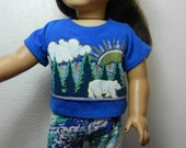 BK Royal Blue Tee with Mountains, Trees, & a Bear Design  - 18 Inch Doll Clothes fits American Girl