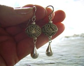 Sterling Silver Bali Bead Earrings with Sterling Silver Teardrops - Winter Style