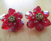 Vintage costume jewelry  /  red  crystal clip on earrings
