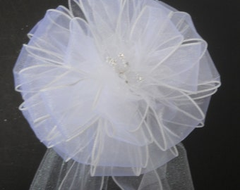Wedding Pew Bow With Irridescent Tulle and Pearl Wedding Pick With Bling in Center