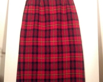 SALE 80s plaid skirt tartan kilt Jaclyn Smith grunge boho punk tartan size 12 straight skirt