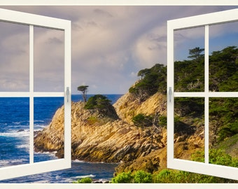 Wall mural window, self adhesive -California open window view-3 sizes available-Point Lobos-office decor-free US shipping