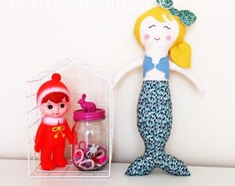 Mermaid MerDolly, Dolly, Softie, Doll.Custom Handmade Rag Doll Perfect for playtime. Ce tested