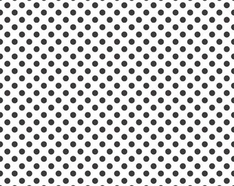 Black Small Dots on White Fabric by Riley Blake Designs - Half Yard - 1/2 Yard - Black and White - C480-110