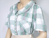 Vintage Green Plaid Blouse Short Sleeve Blouse Summer Casual Button Front Blouse Size 18/20